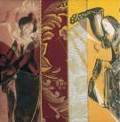 Am Altar | 2002 - 2003 | Druck und Zeichnung auf Stoff | je 22x22 cm