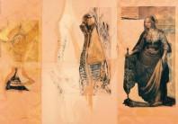 Serie Passionszyklus | 2000 - 2002 | Siebdruck und Zeichnung auf Stoff | 175x250 cm