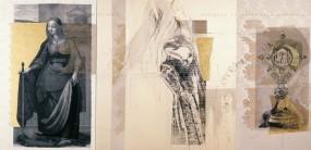 Serie Passionszyklus | 2000 - 2002 | Siebdruck und Zeichnung auf Stoff | 150x305 cm